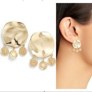 NWT Gorjana Cruz coin drop stud earrings